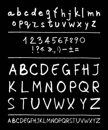 handwriting: English handwriting alphabet. figures. vector 10 eps