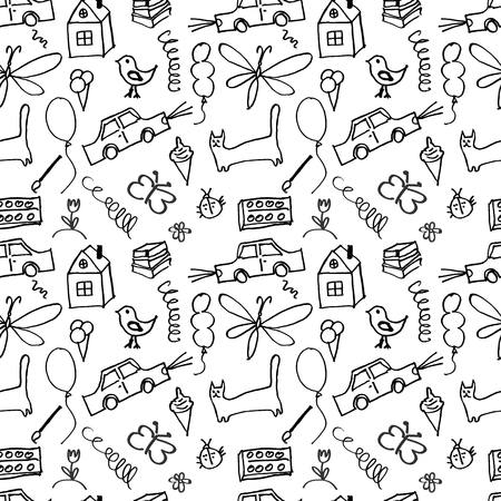 childlike: Seamless pattern, drawn in a childlike style. Vector illustration. 10 eps Illustration