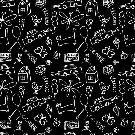 Seamless pattern, drawn in a childlike style. Vector illustration. 10 eps Vector
