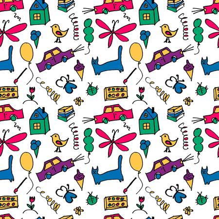 Seamless pattern, drawn in a childlike style. Vector illustration. 10 eps Illustration