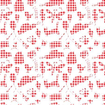 dog pen: Seamless pattern, drawn in a childlike style. Vector illustration. 10 eps Illustration