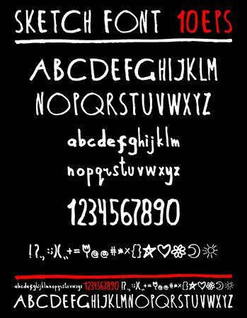 sketched arrows: English handwriting alphabet. figures. vector 10 eps