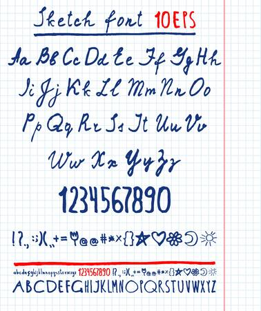 english letters: Handwritten vector English alphabet. Uppercase and lowercase letters.