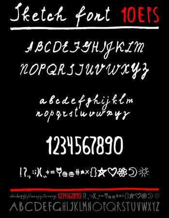 sketched arrows: Handwritten vector English alphabet. Uppercase and lowercase letters.