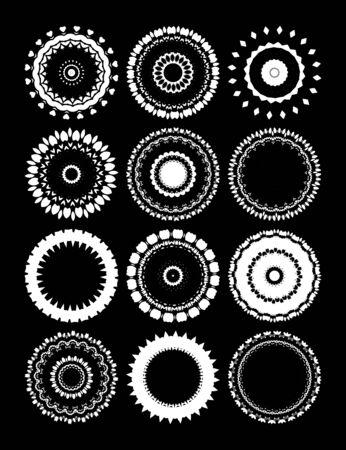 marcos redondos: Un conjunto de marcos redondos con el ornamento.