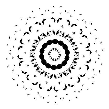 sacramental: beautiful deco black mandala, patterned design element, ethnic Amulet. Illustration
