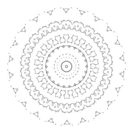 sacramentale: bello deco mandala nera, modellata elemento di design, Amuleto etnico. Vettoriali