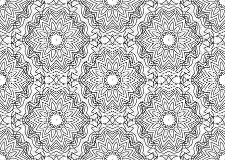 Seamless Contour Floral Pattern.