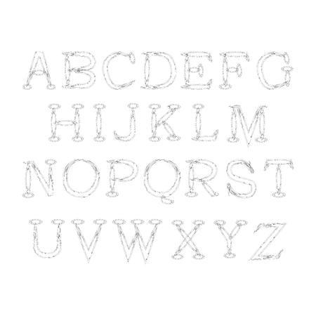 friction: vector illustration of cursive alphabet on a white background