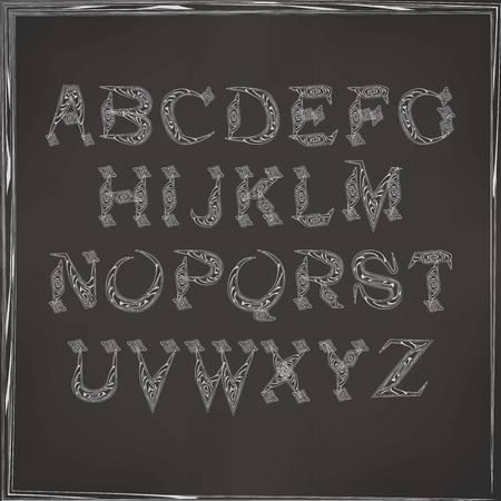 cursive: vector illustration of cursive alphabet on a dark background