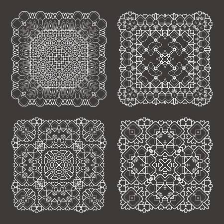 mhendi: Henna tattoo doodle vector elements on white background art