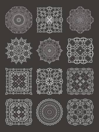 Henna tattoo doodle vector elements on white background art