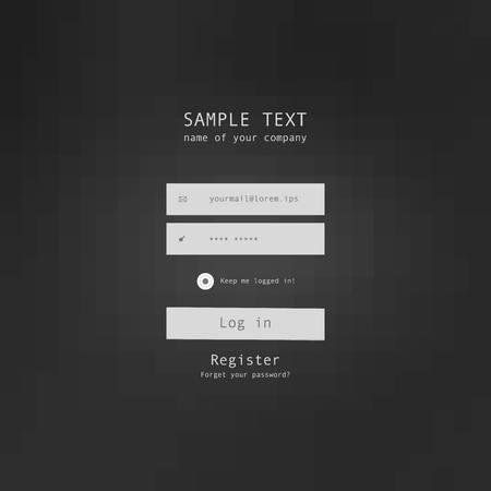 sign in: Vector login security form sample. vector illustration.