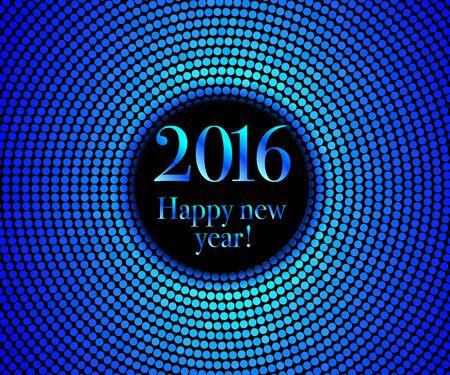 disco lights: Vector - Happy New Year 2016 - blue disco lights frame. Vector illustration