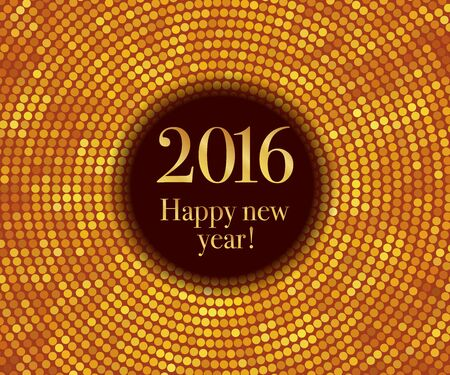 golden ball: Vector - Happy New Year 2016 - gold disco lights frame. Vector illustration Illustration