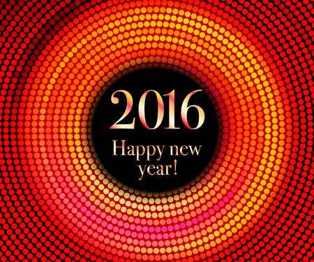 glisten: Vector - Happy New Year 2016 - gold disco lights frame. Vector illustration Illustration