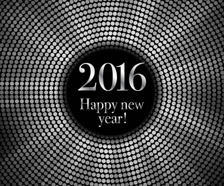 discoball: Vector - Happy New Year 2016 - frame with silver disco lights