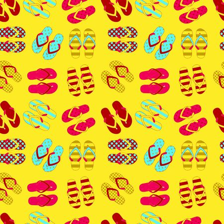thong: Seamless pattern of flip flops in vintage style. Vector illustration.