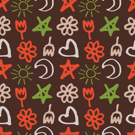 zon en maan: seamless pattern with stars, hearts, sun, moon, flowers in the style of children.