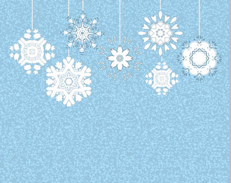 vintage postcard: hanging snowflakes vintage postcard Illustration