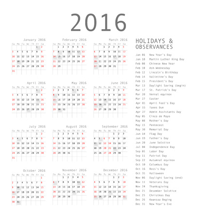 rigorous: Vector calendar grid for 2016. Rigorous design. 10 eps