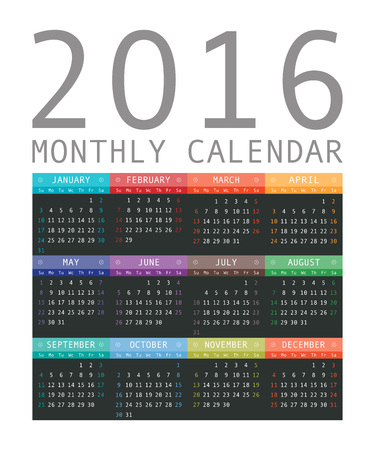rigorous: Vector calendar grid for 2016. Rigorous design. 10 eps