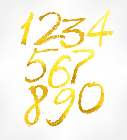 gold numbers: gold numbers set. Vector illustration. 10 eps