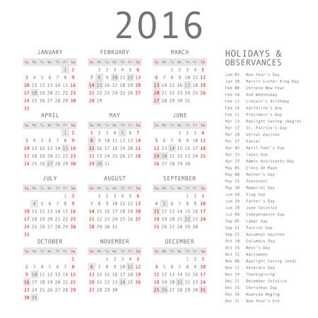 Vector calendar grid for 2016. Rigorous design. 10 eps