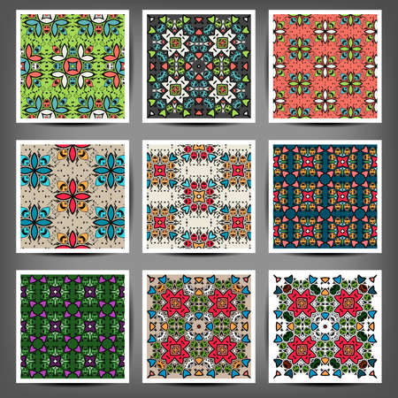 adjusted: Vector hand drawn ornamental template set. The scientific art. Can be used as invitation, greeting card, advertisement, poster, booklet, banner, fabric print. Selection of color schemes- in portfolio.