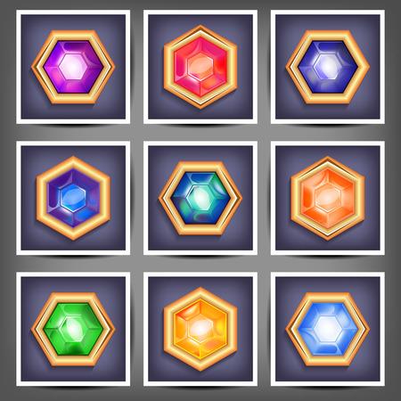 piedras preciosas: Ilustración conjunto de piedras preciosas de diferentes cortes y colores