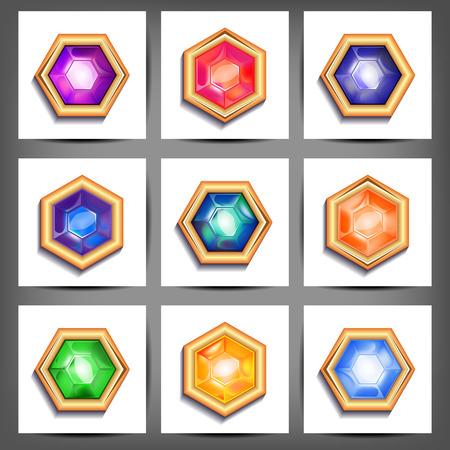 piedras preciosas: Ilustraci�n conjunto de piedras preciosas de diferentes cortes y colores