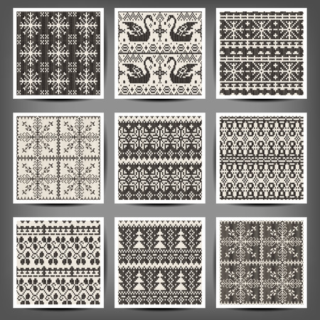 set of seamless knitted patterns.