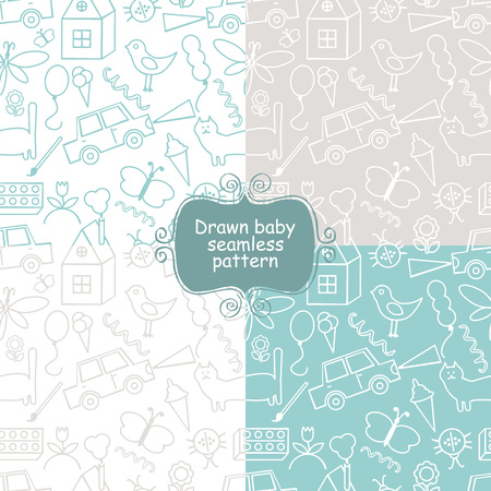 Seamless pattern, drawn in a childlike style. Vector illustration. Set
