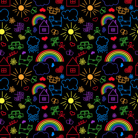childlike: Seamless pattern, drawn in a childlike style. Vector illustration.