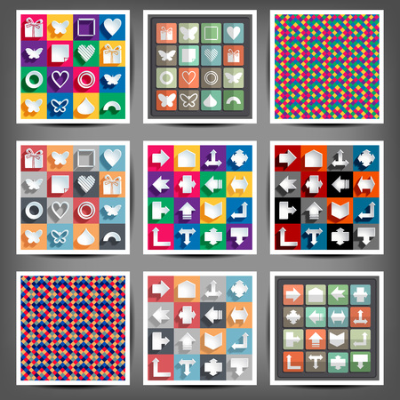 satin round: set of icons of the arrows. Vector illustration Illustration