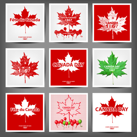 day to day: Maple leaf with firework poster for celebrate the national day of Canada. vector illustration Illustration