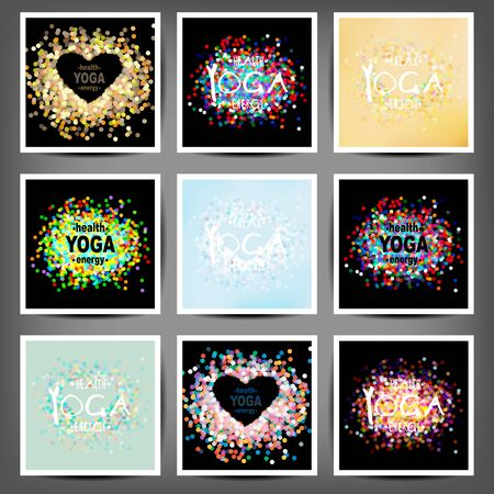 motto: Name of yoga studio on a sunset background. Yoga class motto. Yoga sticker. Yoga exercises, recreation, healthy lifestyle. Poster for yoga class with a sea view. Illustration