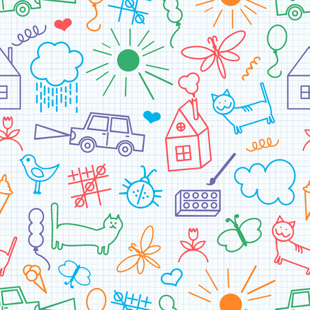 kids fun: Seamless pattern, drawn in a childlike style. Vector illustration.