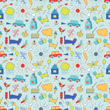 baby toy: Seamless pattern, drawn in a childlike style. Vector illustration.