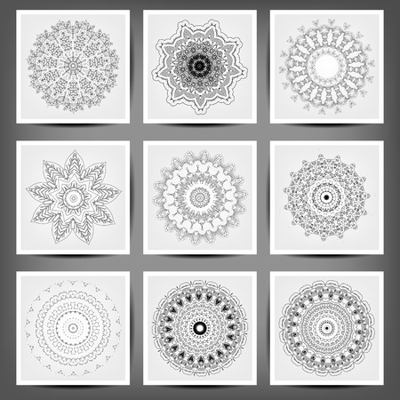 Set of ethnic ornamental floral pattern. Hand drawn mandalas.  イラスト・ベクター素材