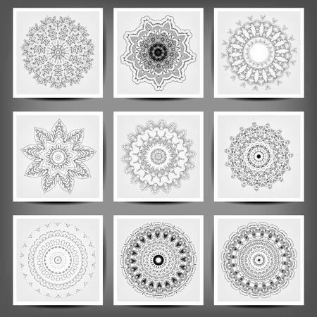 Set of ethnic ornamental floral pattern. Hand drawn mandalas. Illustration