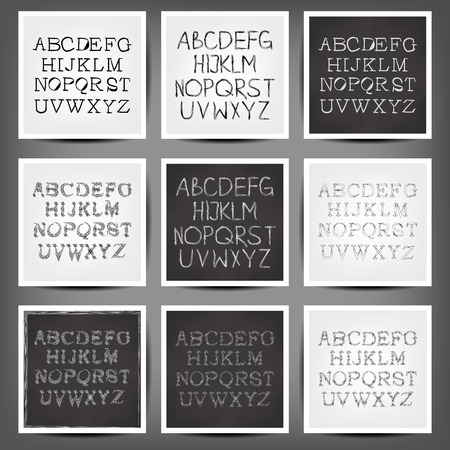 old english letter alphabet: Set of vector handwritten English alphabets. 10 eps