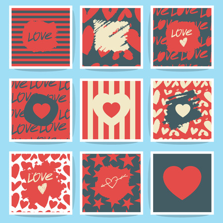 unusual valentine: Happy valentines day and weeding cards. Set.