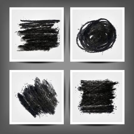 Collection of grungy charcoal vector banners. Black messy backgrounds set.