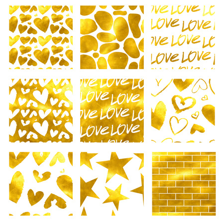 weeding: Happy valentines day and weeding cards seamless. Set. Gold