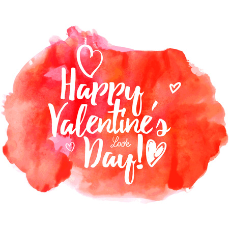 splutter: calligraphy on red grungy watercolor stain background - Happy Valentines day
