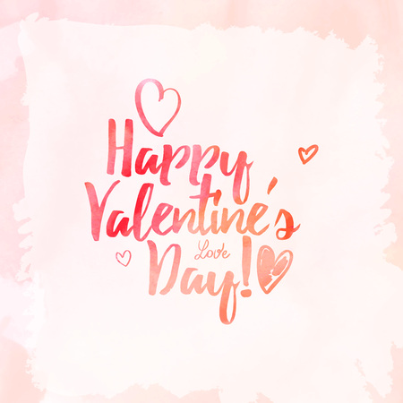 splutter: Vector handwritten calligraphy on red grungy watercolor stain background - Happy Valentines day Illustration