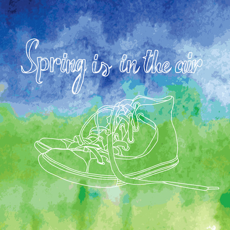 Spring is in the air. Vintage postcard with sneakers. 10 eps