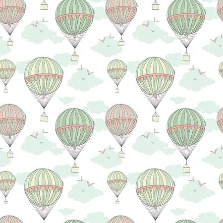 hot tour: Background with hot air balloons. 10 eps Illustration