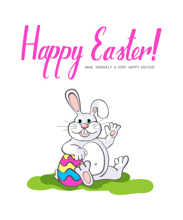 april clipart: Happy Easter.  Easter bunnies and egg in field. Wide copy space for text. 10 eps